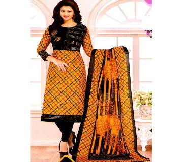 Comfortable Unstitched Cotton  Long Pakiza Three-Piece for for women 06-yellow