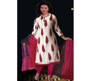Comfortable Unstitched Cotton  Long Pakiza Three-Piece for for women 10-red white