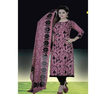 Comfortable Unstitched Cotton  Long Pakiza Three-Piece for for women 12.2-pink