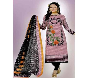Comfortable Unstitched Cotton  Long Pakiza Three-Piece for for women 13.1-pink