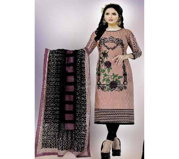 Comfortable Unstitched Cotton  Long Pakiza Three-Piece for for women 13-pink
