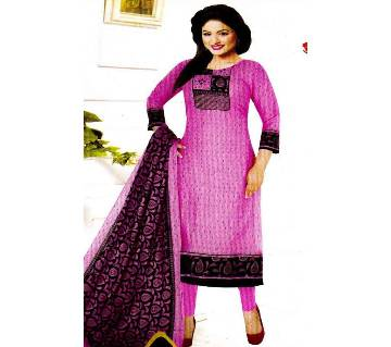 Comfortable Unstitched Cotton silver Long Pakiza Three-Piece for women 27-pink