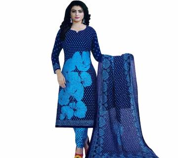 Comfortable Unstitched Cotton silver Long Pakiza Three-Piece for women 30-blue