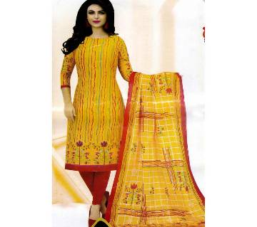 Comfortable Unstitched Cotton  Long Pakiza Three-Piece for women 34