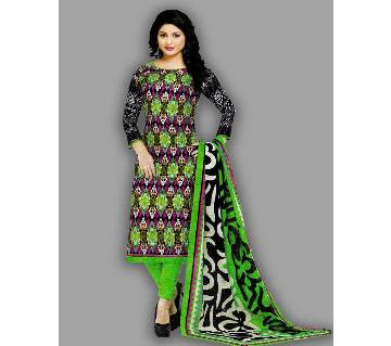 Unstitched Cotton Salwar Kameez Silver Long Three Piece - GREEN