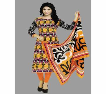 Unstitched Cotton Salwar Kameez Silver Long Three Piece