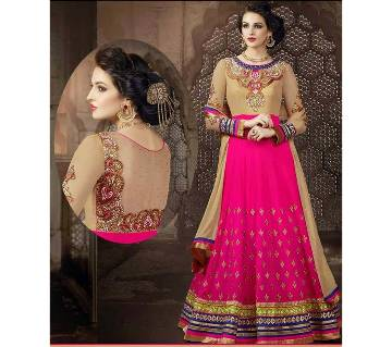 Semi-Stitched Georgette Long Replica Party Suit