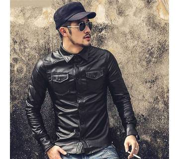 Artificial Leather Full Sleeve Shirt