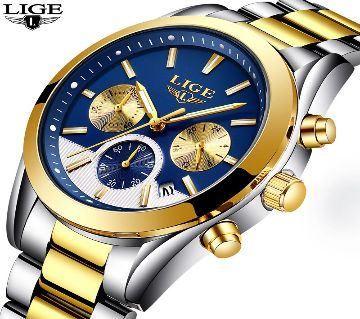 LIGE CHRONOGRAPH WATCH-silver and yellow