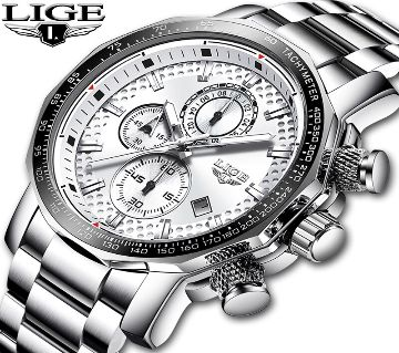 LIGE Casual Watch-silver