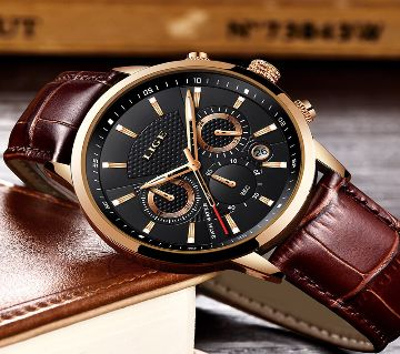 LIGE GENTS LEATHER WATCH-9866F
