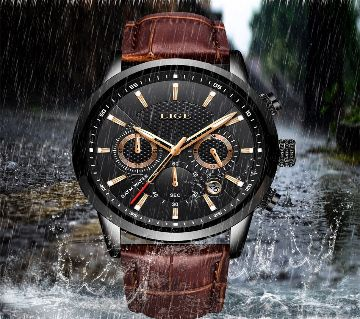LIGE GENTS LEATHER WATCH-9866H