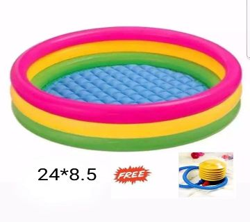 Baby Bath Tub, Baby Swimming Pool with Pumper (24 X8.5inch) - Multicolor