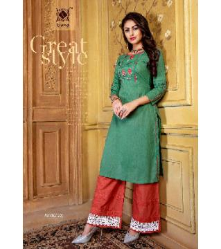 Indian Cotton Rayon Kurti Palazzo Set-red