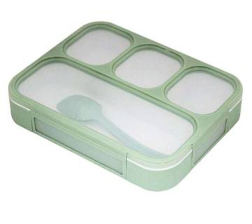 4 Compartments Grid Lunch Box with Spoon - Pink, Green, Sky Blue