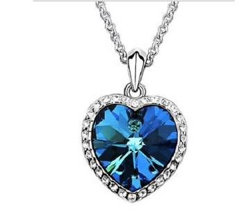 Zircon  Heart-shaped Ocean Blue Pendant