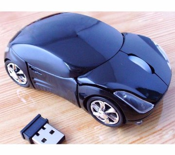 Car Shaped Wireless Optical Mouse - Black