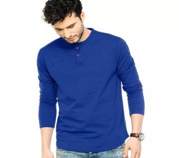 Blue Long Sleeve কটন টিশার্ট ফর মেন