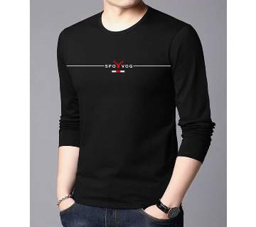 Black Color Long Sleeve Winter T-Shirt for Men