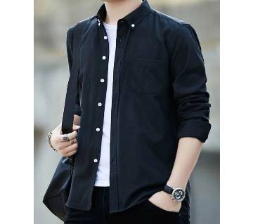 White Button Long Sleeve Casual Shirt for Men
