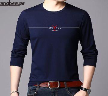 Long Sleeve Navy Blue Color T-Shirt for Men