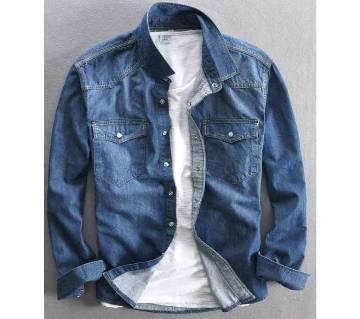 Sky Blue Long Sleeve Denim Shirt For Men