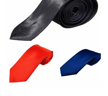 Black, Royal Blue & Red Silk Formal Glossy Tie for Men (Combo)