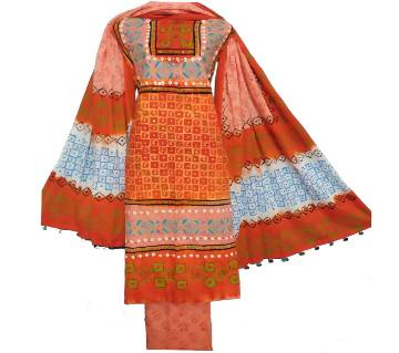 Mom Pati Batik three piece unstiched women dress shalwar kameez