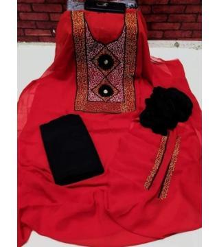 Unstiched Georgette Three piece Red Black