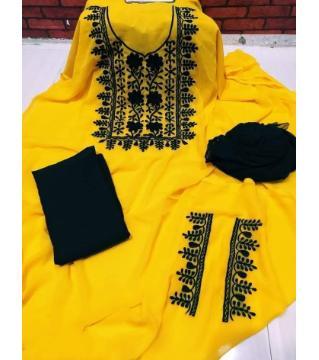Unstiched Georgette Three piece Yellow Black