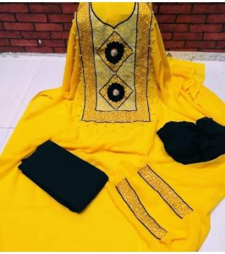 Unstiched Georgette Three piece Yellow Black Pearle