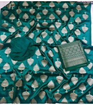 Unstiched silk skin print three piecs Green