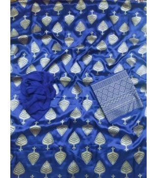 Unstiched silk skin print three piecs Royal Blue