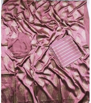 Unstiched silk skin print three piecs Onion