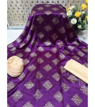 Unstitched silk skin print three pieces purple