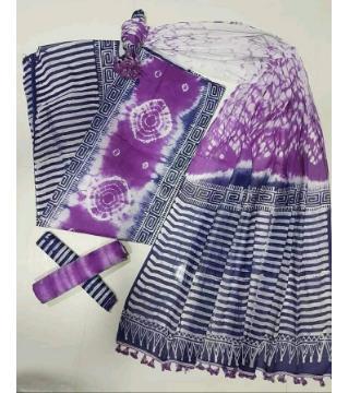 Unstitched orgendi shiburi pride batik three piece  purpel color