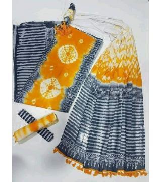 Unstitched orgendi shiburi pride batik three piece orange color