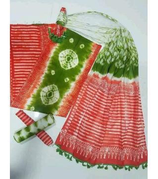 Unstitched orgendi shiburi pride batik three piece  red green color