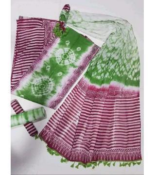 Unstitched orgendi shiburi pride batik three piece  green mazenda color