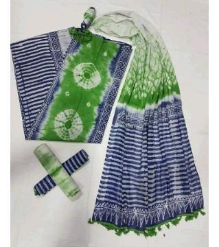Unstitched orgendi shiburi batik three piece  blue green color