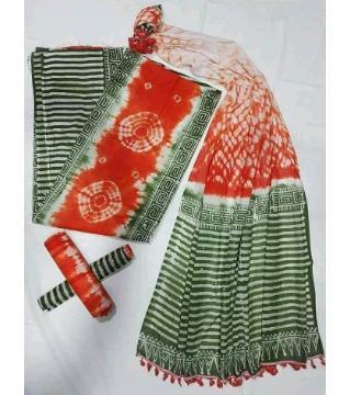 Unstitched orgendi shiburi batik green red color
