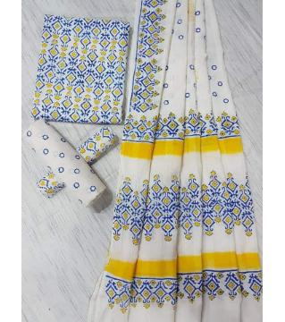 Unstitched Adi cotton block Three piece-White and yellow