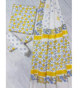 Unstitched Adi cotton block Three piece 1-White and yellow
