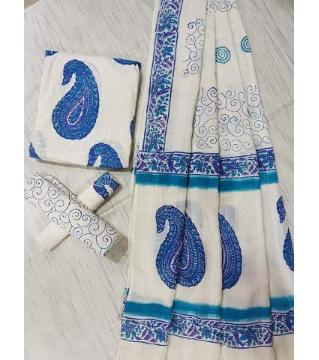 Unstitched Adi cotton block Three piece 2-White and blue