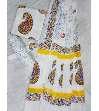 Unstitched Adi cotton block Three piece 3-White and yellow