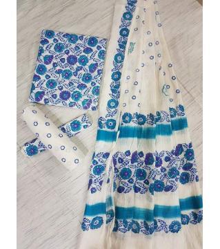 Unstitched Adi cotton block Three piece 5-white and blue