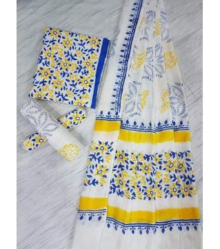 Unstitched Adi cotton block Three piece 6- White Blue and yellow