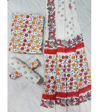 Unstitched Adi cotton block Three piece 7-White and red