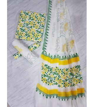 Unstitched Adi cotton block Three piece 8-white green and yellow