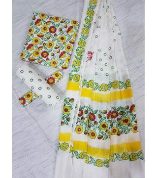 Unstitched Adi cotton block Three piece 9-White Green and yellow